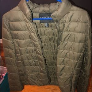 Olive green puffer jacket!